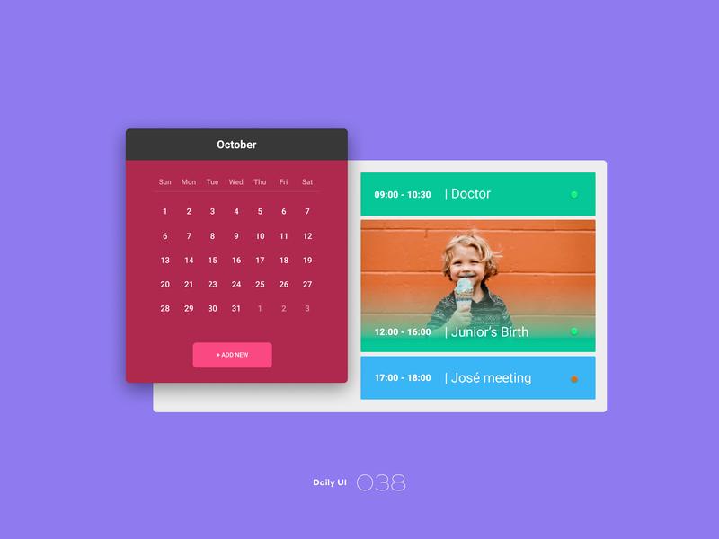 Daily UI #038 calendar 038 dailyui