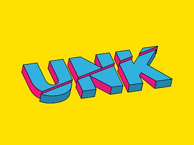 uNk text cut effect 3d