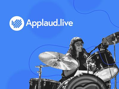 Applaud.live platform linear design creative branding website saas logo brand drummer musician booking platform gig music applaud