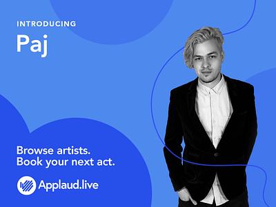 Applaud.live Act visual design branding brand booking platform musician artist introduction gig act design creative website illustration colour transition