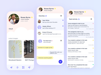 Team-working Concept design creative ui ux ui user interface photoshop adobe daily concept team work activity feed profile messengers chat app inbox chat box project management tool task list task app teamwork