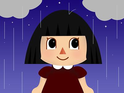 Animal Crossing Rainy Days color transition game art video game cartoon night rainy day rain cute characters animal crossing illustration character design character