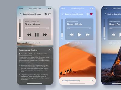 Sleep Sounds App Concept asmr sleep sounds app user interface design ui  ux sounds audio app user interface front end design ui