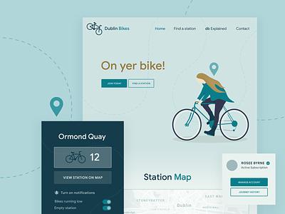 Dublin Bikes Redesign Concept bike design creative gradient branding ui ireland notifications live updates apple accounting homepage illustration dublin bikes dublin