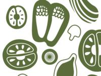 Vintage inspired Veggies Pattern