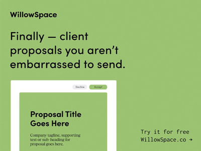 Build beautiful proposals in WillowSpace - a CRM for designers. marketing tips business software business automation client management crm ui design small business graphic design brand design branding
