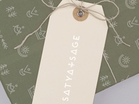 Hangtag and tissue paper packaging for Satya + Sage