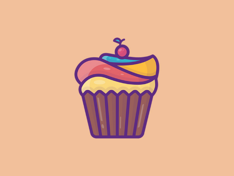 Cupcake 🧁 yummy outline sticker simple vector minimal design fun food illustration colorful cute cupcake