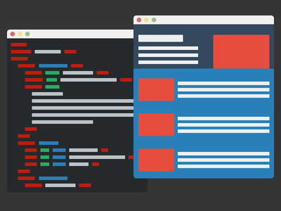 Code & Browser code html css js sublime text chrome ui flat svg vector sketch