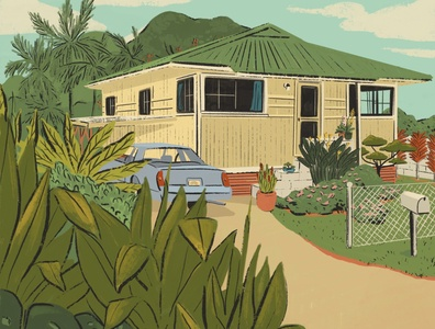 Hawaii House chevy monte carlo yard childhood home architecture aloha illustration hawaii