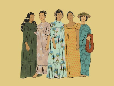 Muumuu hawaii women wahine muumuu lei aloha illustration hawaii