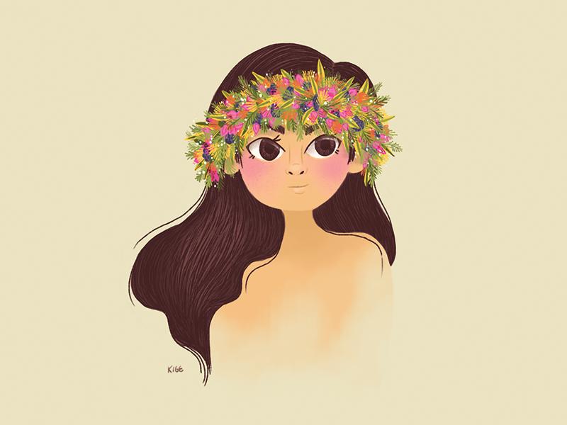 Haku haku lei flower crown girl haku lei illustration hawaii