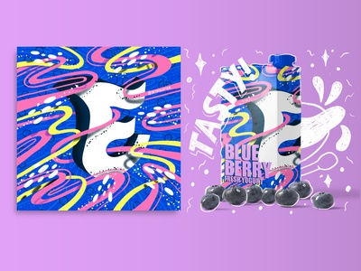 2021 36DOT Series - Letter E flowing dynamic movement ocean space celeste whimsical 3d lettering typography editorial mockup procreate commercial lettering illustration food dairy yogurt packaging