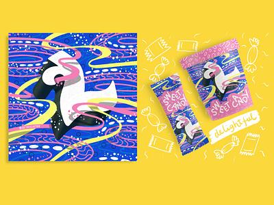 2021 36DOT Series - Letter L mockup packaging icecream floating fluid ocean pink blue alphabet pattern bubbles ribbons procreate typography lettering illustration