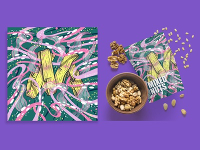 2021 36DOT Series - Letter M art pattern alphabet mockup nuts packaging food procreate product intricate typography ribbons whimsical illustration hand lettering