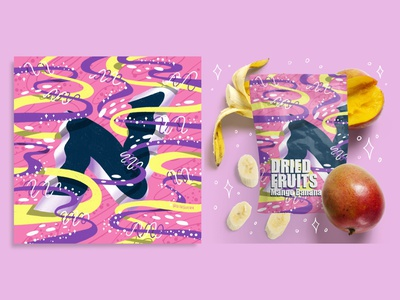 2021 36DOT Series - Letter N procreate alphabet mockup commercial art fruits dried fruit food packaging 3d lettering typography ribbons whimsical illustration hand lettering