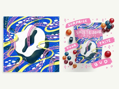 2021 36DOT Series - Letter O godis sweets 36daysoftype playful commercial art candies food procreate packaging mockup typography ribbons whimsical illustration hand lettering