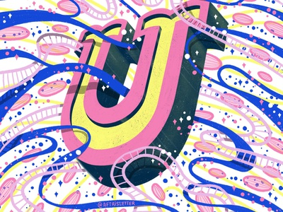 2021 36DOT Series - Letter U playful fun shadow patterns drop cap type letter hand drawn typography whimsical illustration hand lettering