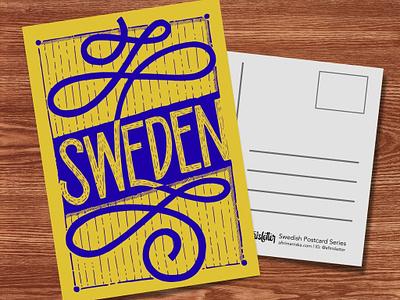Swedish Postcards - No.01 typography vykort sverige swedish sweden lettering series illustrative lettering hand drawn letters passion project personal project hand lettering lettering project illustration vector illustration vector artwork postcard design