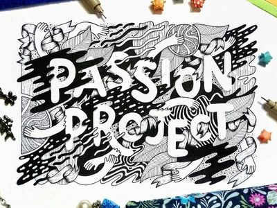 Passion Project analog space planet hands ribbons intricate detailed hand lettered ink pen hand drawn whimsical illustration blackandwhite hand lettering illustrative lettering