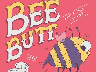 Bee Butt funny children book typography hand lettering illustrative lettering mischief flying animal bee inkscape illustration childrens illustration kids illustration