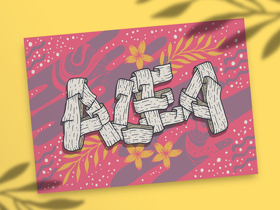 Alea type art gift card name poster universe yellow pink space intricate ribbons celestial vector lettering vector illustration illustration illustrative lettering hand lettering whimsical