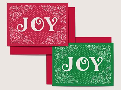 JOY / 2019 Seasonal Card Design greeting card seasonal hand drawn whimsical elegant festive green red stationery design christmas card illustration ribbons hand lettering