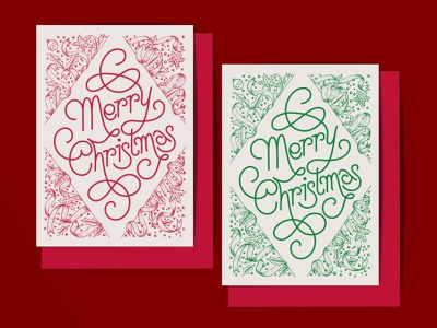 Merry Christmas seasons greetings happy holidays greeting card card mockup calligraphy swashes flourishing whimsical hand drawn illustrative lettering festive ribbons monoline vector lettering hand lettering