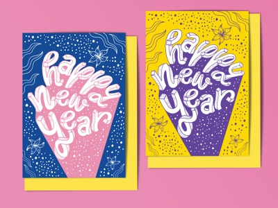 Happy New Year greeting card youthful bubbles celebration purple yellow pink blue playful seasonal florals botanical typography intricate 3d lettering celestial whimsical illustration illustrative lettering hand lettering