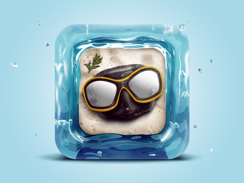 Water Goggles water c4d zbrush goggles icon blue