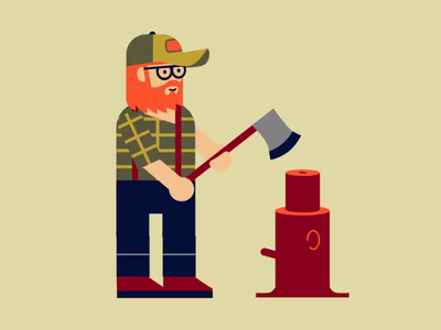 Lumberjack branding motion graphics vector illustration animation
