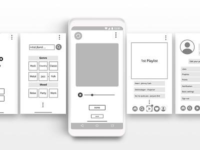Music app wireframe ui ux design app ali tasbandi