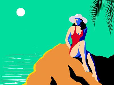 Summer VIbes 2 ocean beach summer vibes summer model travelling travel adventures bold vectorart illustrator vector minimal art graphic design design illustration