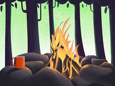 Campfire travelling travel campfire camping vector painting vector artist illustrativeart illustrative design landscape art landscape landscape illustration digitalart adventures vectorart illustrator vector art graphic design design illustration
