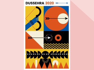 Dussehra Poster poster art poster poster designer poster design indian mythology mythology indian illustration indianart adventures bold vectorart minimal illustrator vector art graphic design design illustration
