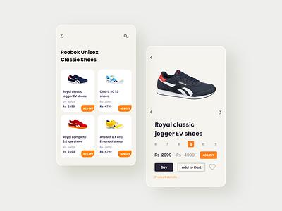 Reebok app concept design app ui uidesign typography ux branding minimal graphic design design illustration