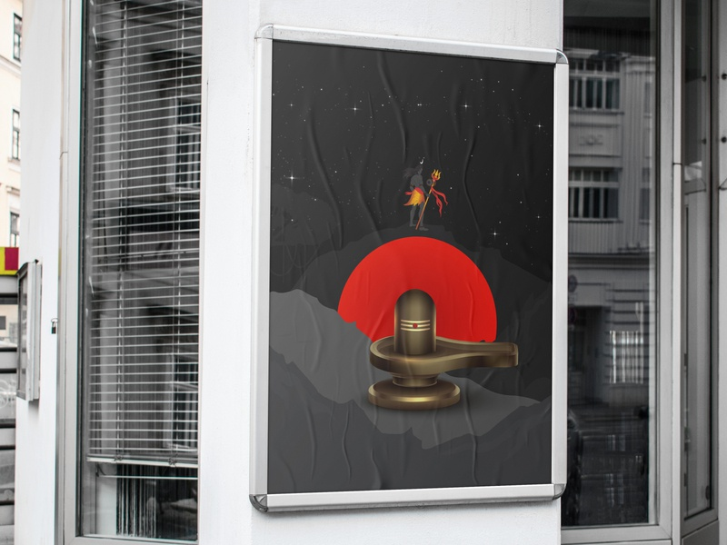 Night light lord Shiva Poster posterdesign shiva poster color knowledge flat love vector illustration design