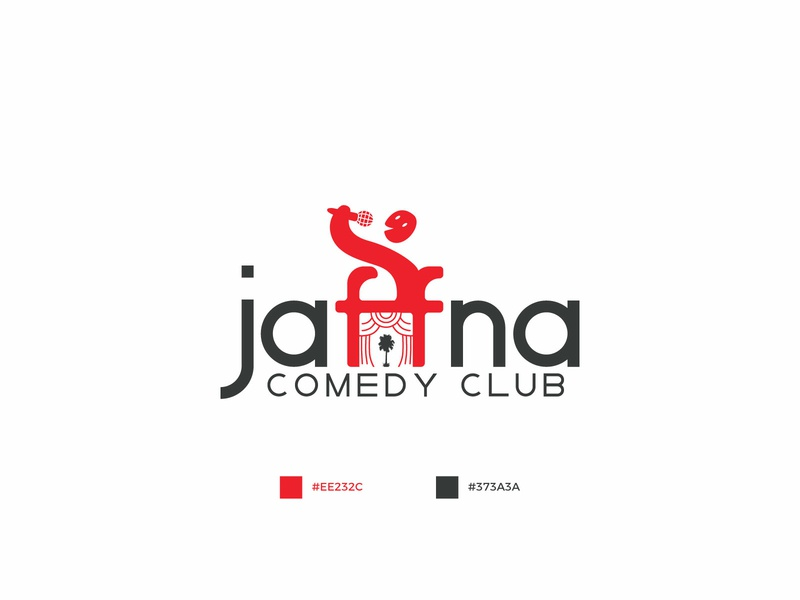 Jaffna comedy club logo creation flat illustration stage creative type dark art knowledge ui power art typography love logo icon vector branding brand color design creation