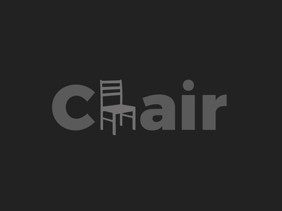 Chair text black dribbble type text chair design art typography branding vector illustration brand design color
