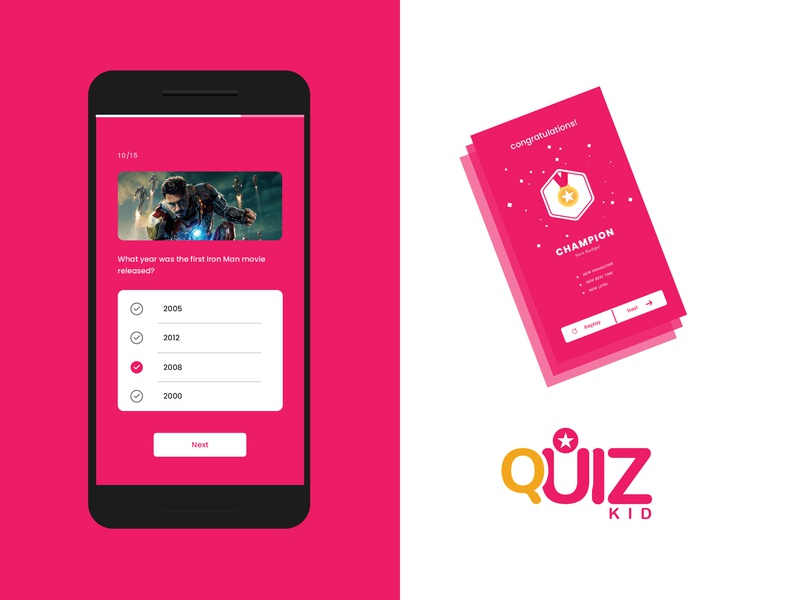 Kids Quiz ApplicationUser Interface Design userinterfacedesign minimal champion kids quiz app iron man application app knowledge power ux ui flat love icon vector brand branding color design