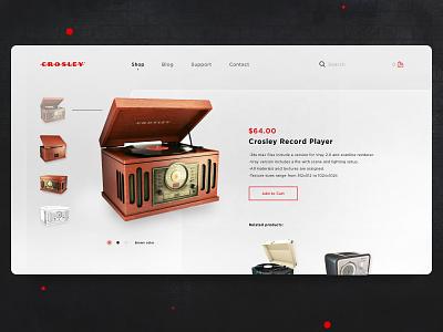 Crosley Record Player app social site design web flat ui design