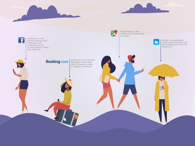 Socials Poster color social poster people design flat web ui vector illustration