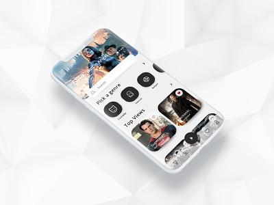Cinema App media iphone cinema app app apps application vector illustration social ui flat color web 2019 design