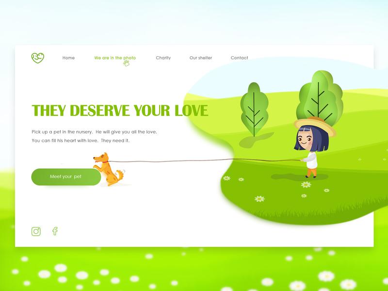 Pet Shelter landing page iphone people pet business pet shelter ux branding brand vector illustration social site design ui flat color web 2019 design
