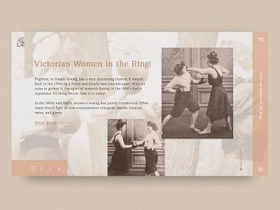 web ui/ux: Victorian Women in the Ring! branding poster app flat typography landing page ux vector site design color web ui 2019 design