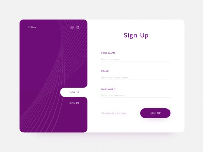 Sign Up form sign up screen sign up sign in form sign in minimal website icon typography branding brand ux vector site design color ui flat web design 2019