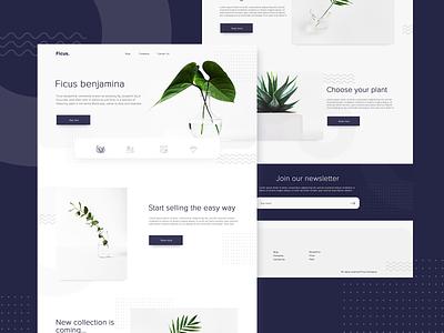 Ficus. Concept type minimal website icon brand typography landing page ux vector web ui flat 2019 design