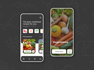 Recipes food App trend 2020 color icon app vector typography ux flat ui design