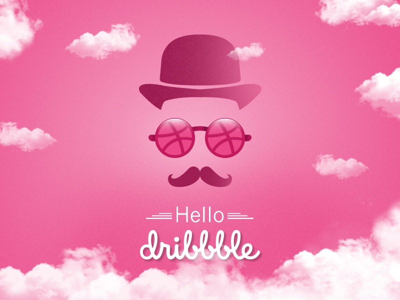 Hello, Dribbble clouds hello dribbble gentleman illustration first shot debut