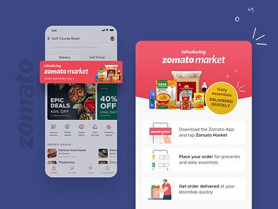 Introducing Zomato Market! groceries zomato market ui ux ui illustration figma ux design mobile app food ui design design zomato